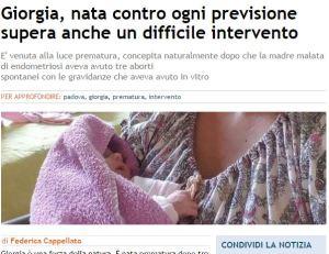 Malata di endometriosi, partorisce figlia dopo 3 aborti