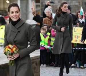 Kate Middleton, cappotto verde low cost e stivali FOTO