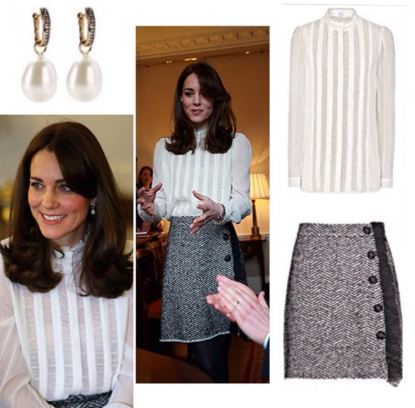 Kate Middleton: blusa bianca e gonna a vita alta FOTO