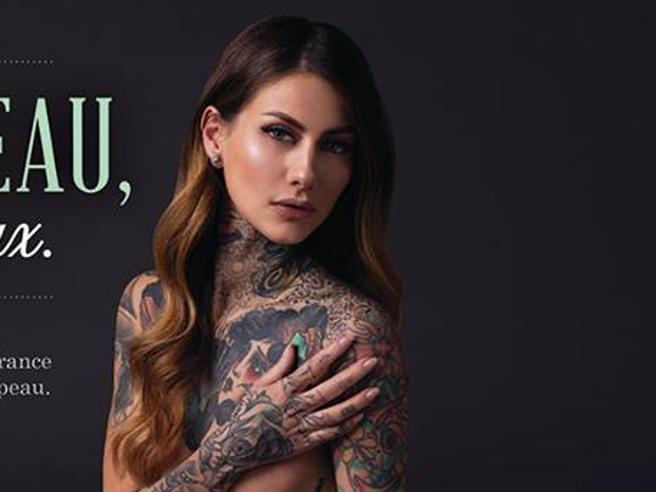 Fanny Maurer, modella tatuata francese senza veli per la Peta 2