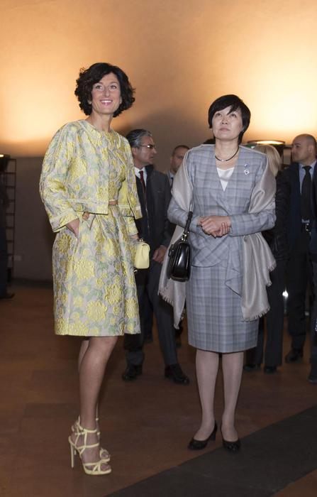 Agnese Renzi, completo floreale giallo firmato Scervino FOTO