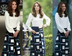 Kate Middleton, look chic: gonna Banana Republic e blusa FOTO