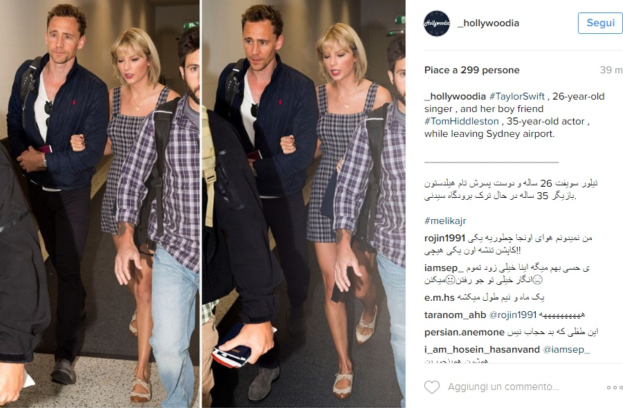 Taylor Swift, abito corto a scacchi con Tom Hiddleston FOTO