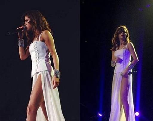 Selena Gomez sensuale: abito bianco e spacco vertiginoso FOTO