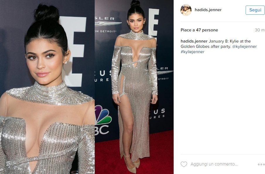 Kylie Jenner esagerata: spacco super ai Golden Globes FOTO