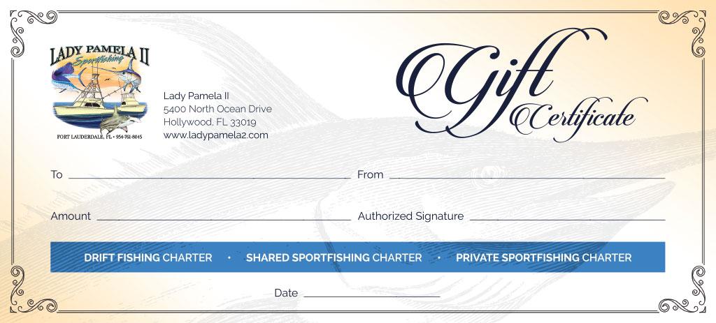 Fishing Charter Gift Certificates For Deep Sea Fishing Gift
