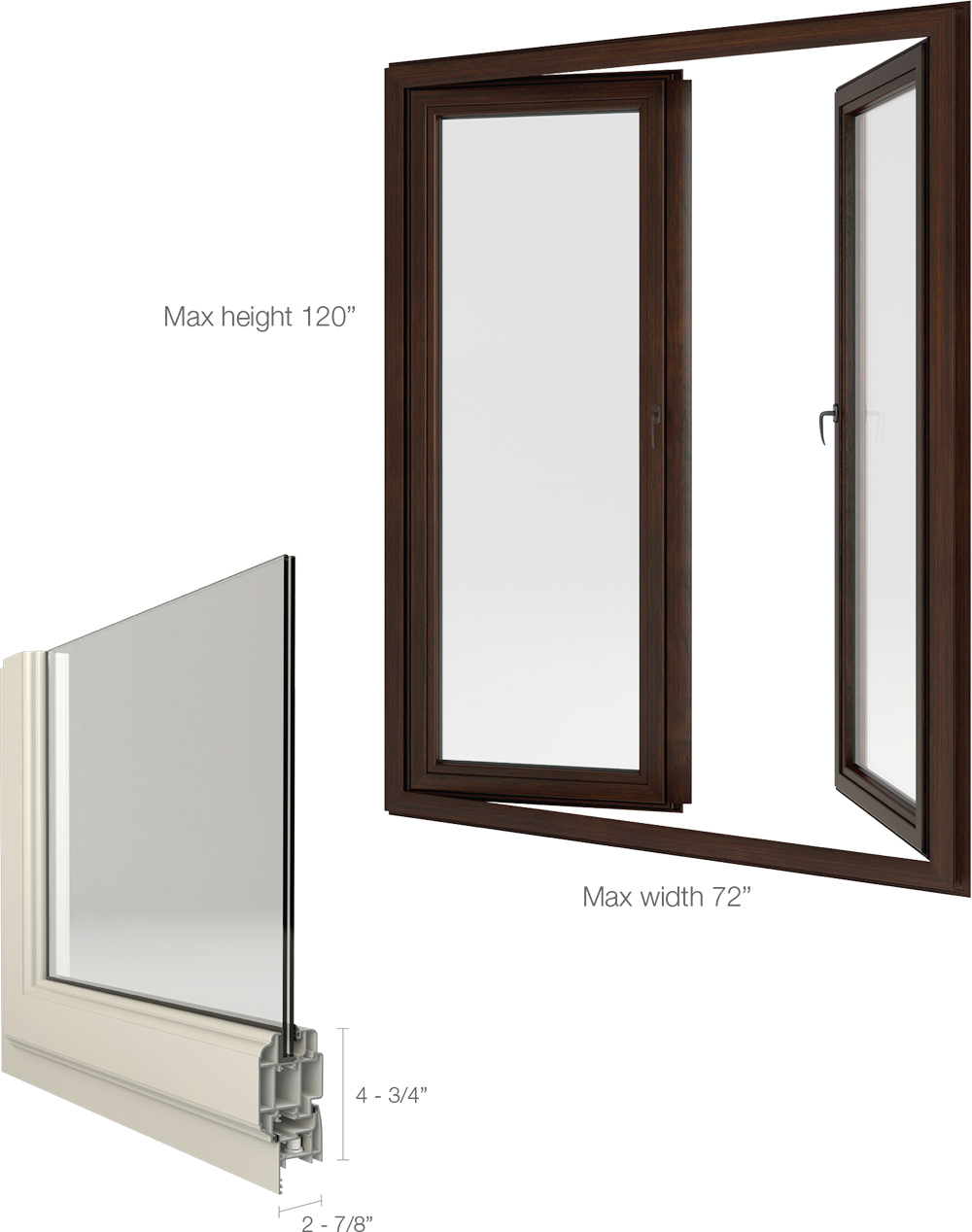 European style push out casement windows available as single or double casements the double casement has a built in astragal that moves with the inactive