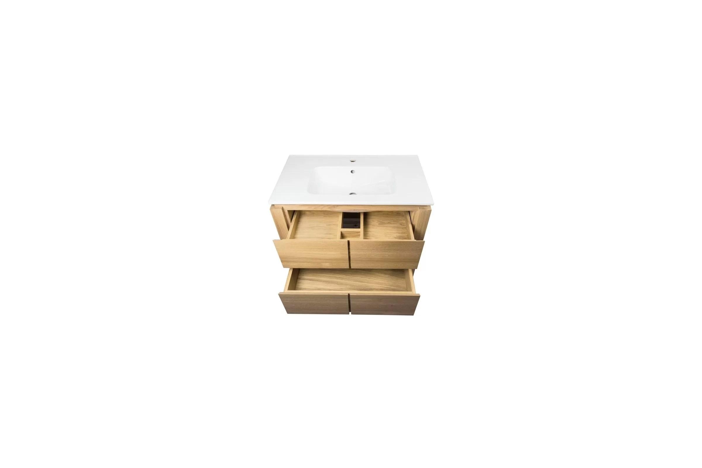 Meuble SDB chêne 80/100 cm avec un plan vasque, 2 tiroirs, étagère
