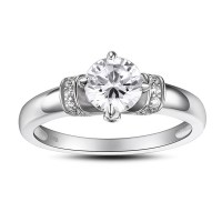 Round Cut Gemstone 925 Sterling Silver Promise Rings For ...