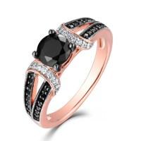 Round Cut Black & White Sapphire Rose Gold S925 Engagement ...
