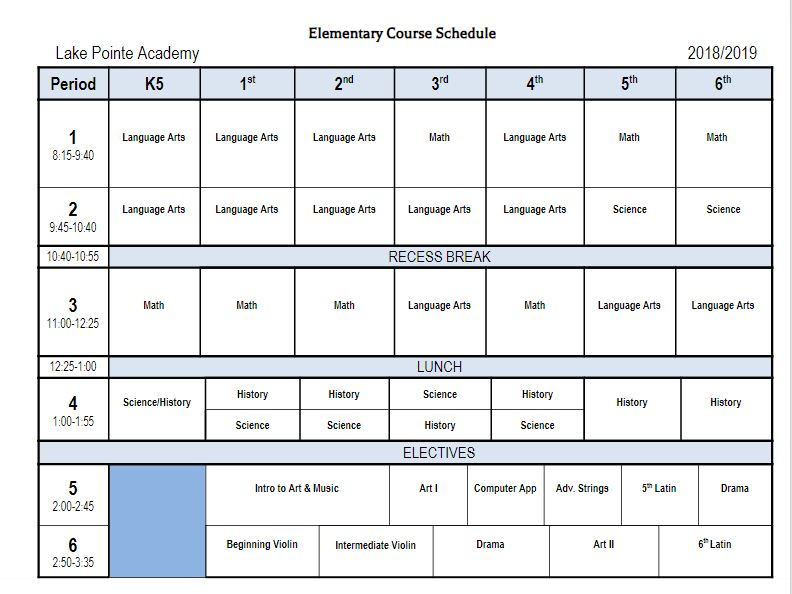 Elementary Class Schedule - Lake Pointe Academy