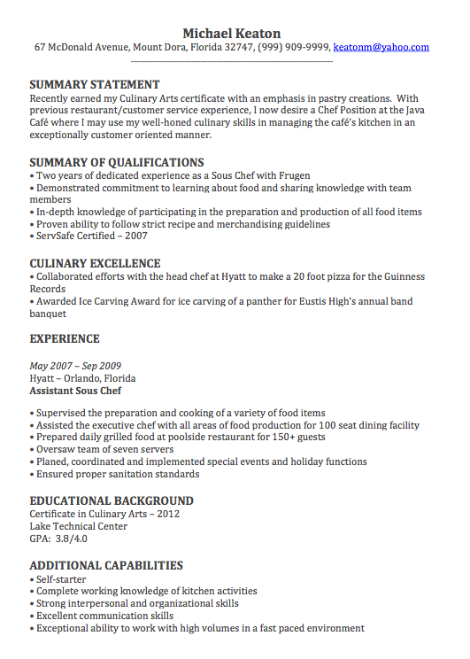 resume summary statement for chef
