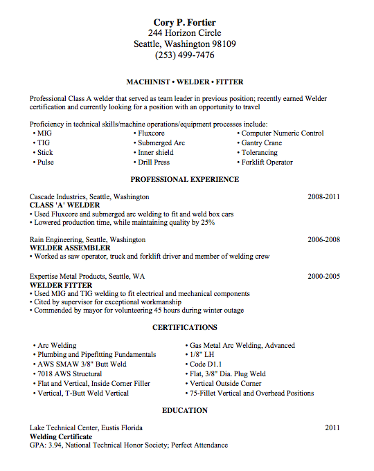 examples of resumes for welders