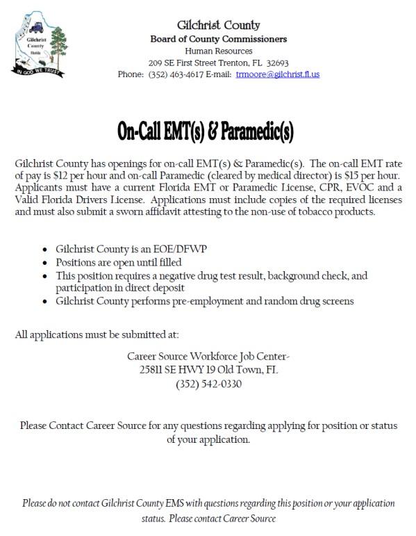Gilchrist County Hiring EMTs  Paramedics - Lake Tech\u0027s Career Center