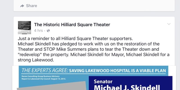 UPDATE: Can Candidate Skindell Save the Hilliard Theater? (photos)