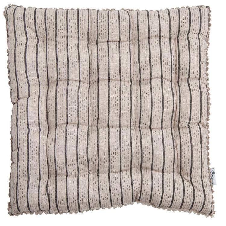 Linen Mix Seat Pad Beige Charcoal Stripe New Arrivals