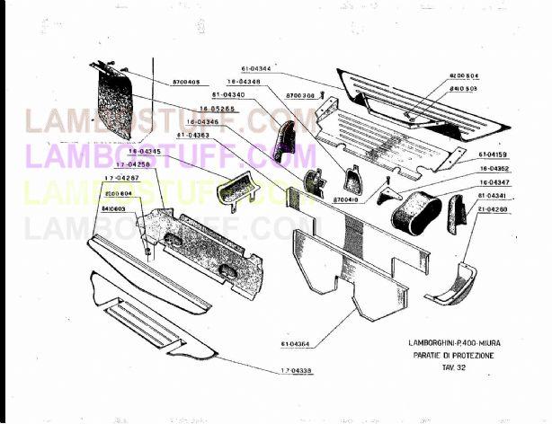 1966-1972 Lamborghini Miura Engine Panels TAV 32