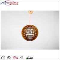 Modern wooden round pendant light for high ceiling ...