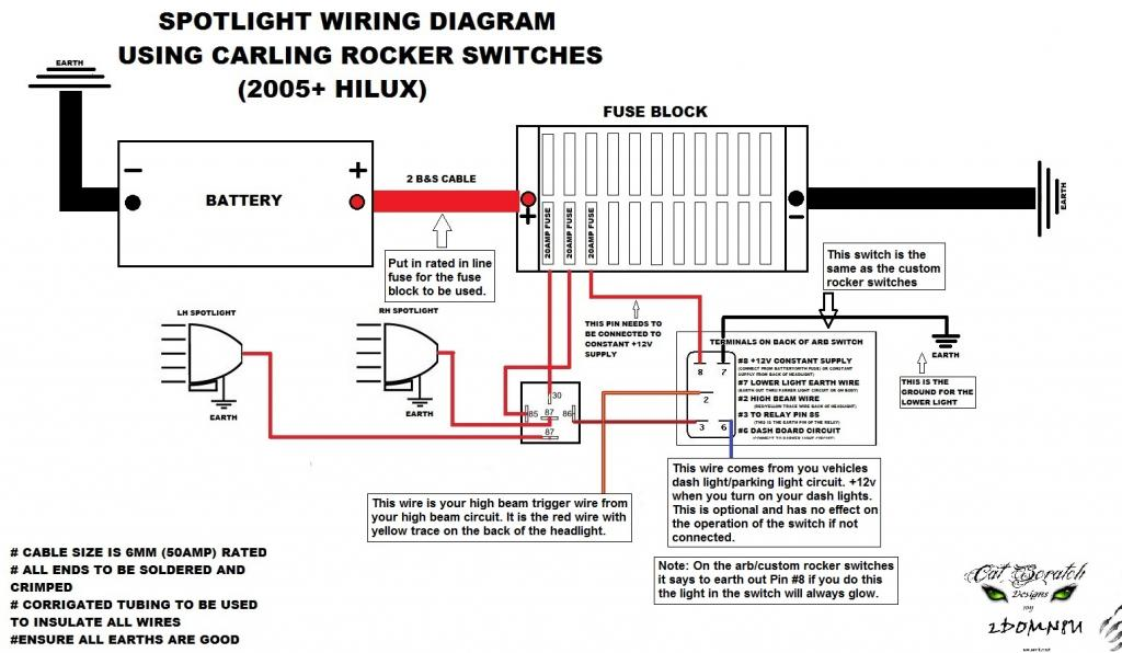 wiring diagram for spotlights on landcruiser