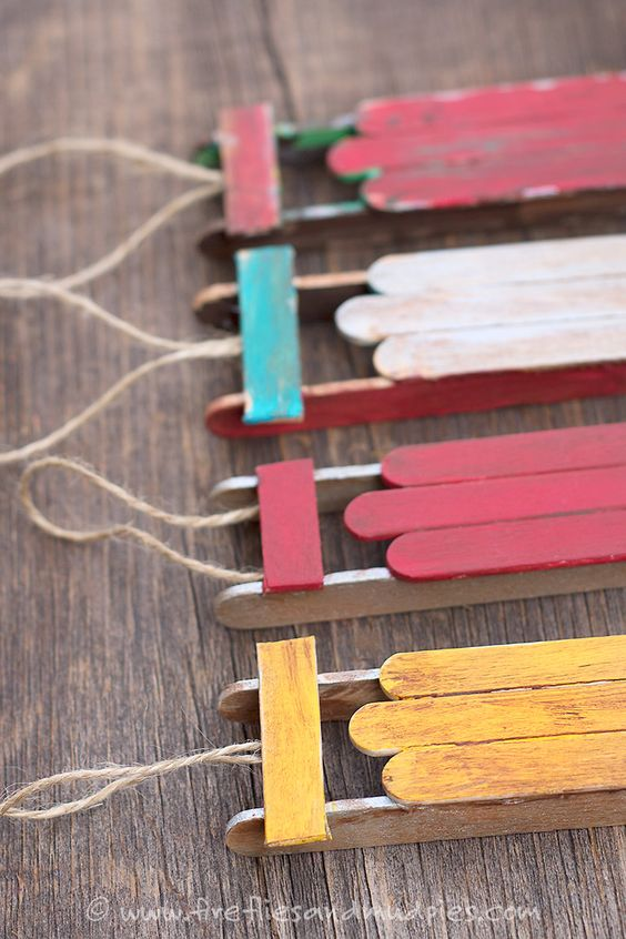 christmas ornaments made out of popsicle sticks