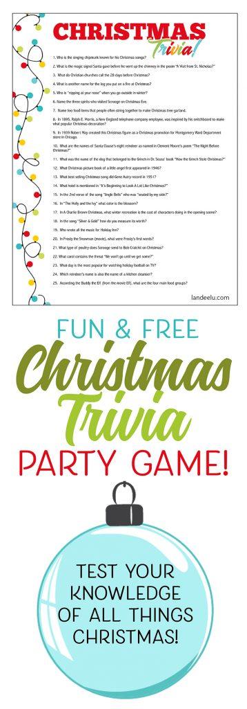 Christmas Trivia Game Perfect for Christmas Parties! Printable Fun