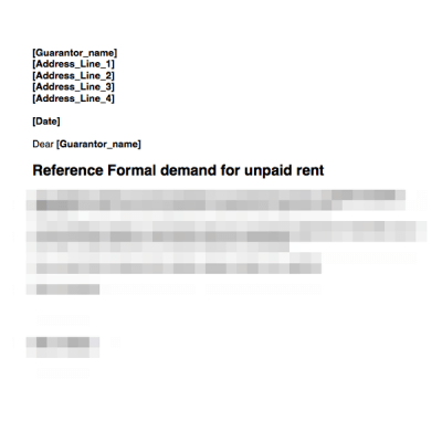 Guarantor rent demand first letter