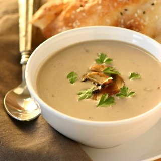 A recipe for Vegan Cream of Mushroom Soup that is velvety and full of flavor--perfect for a chilly day.