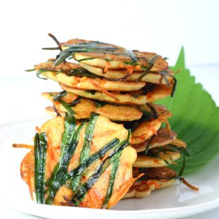 Gluten-free and vegan, these savory Korean Mung Bean Pancakes are dense and chewy in the middle and lacy and crisp on the edges.
