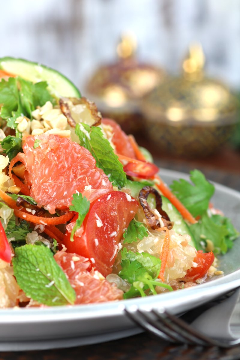 This mouthwatering Thai Grapefruit Salad succeeds in harmonizing sweet, hot, bitter, and sour flavors to simultaneously excite the tastebuds!