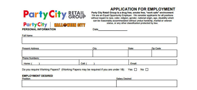 Party City Jobs 2018 Careers, Application Requirements  Interview - printable application for mployment