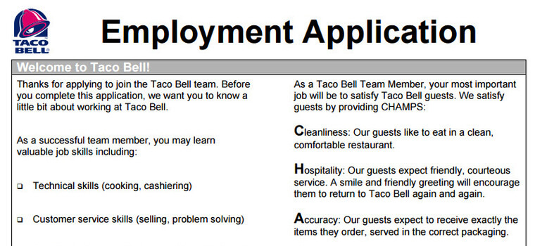 Taco Bell Application 2019 Careers, Job Requirements  Interview Tips