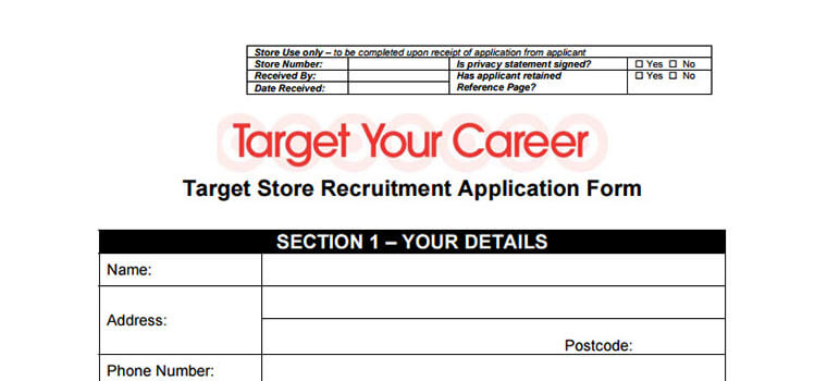 Target Application 2019 Careers, Job Requirements  Interview Tips - Target Application Form