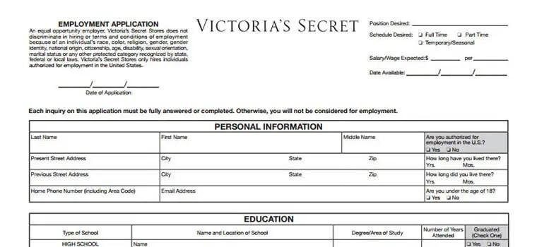 Victoria\u0027s Secret Application 2018 Careers, Job Requirements - application for employment