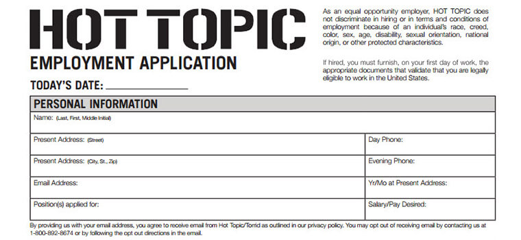 Hot Topic Application 2018 Careers, Job Requirements  Interview - Job Application
