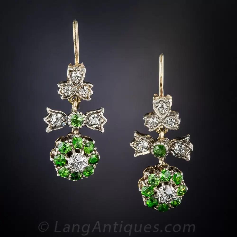 Antique Demantoid Garnet and Diamond Dangle Earrings