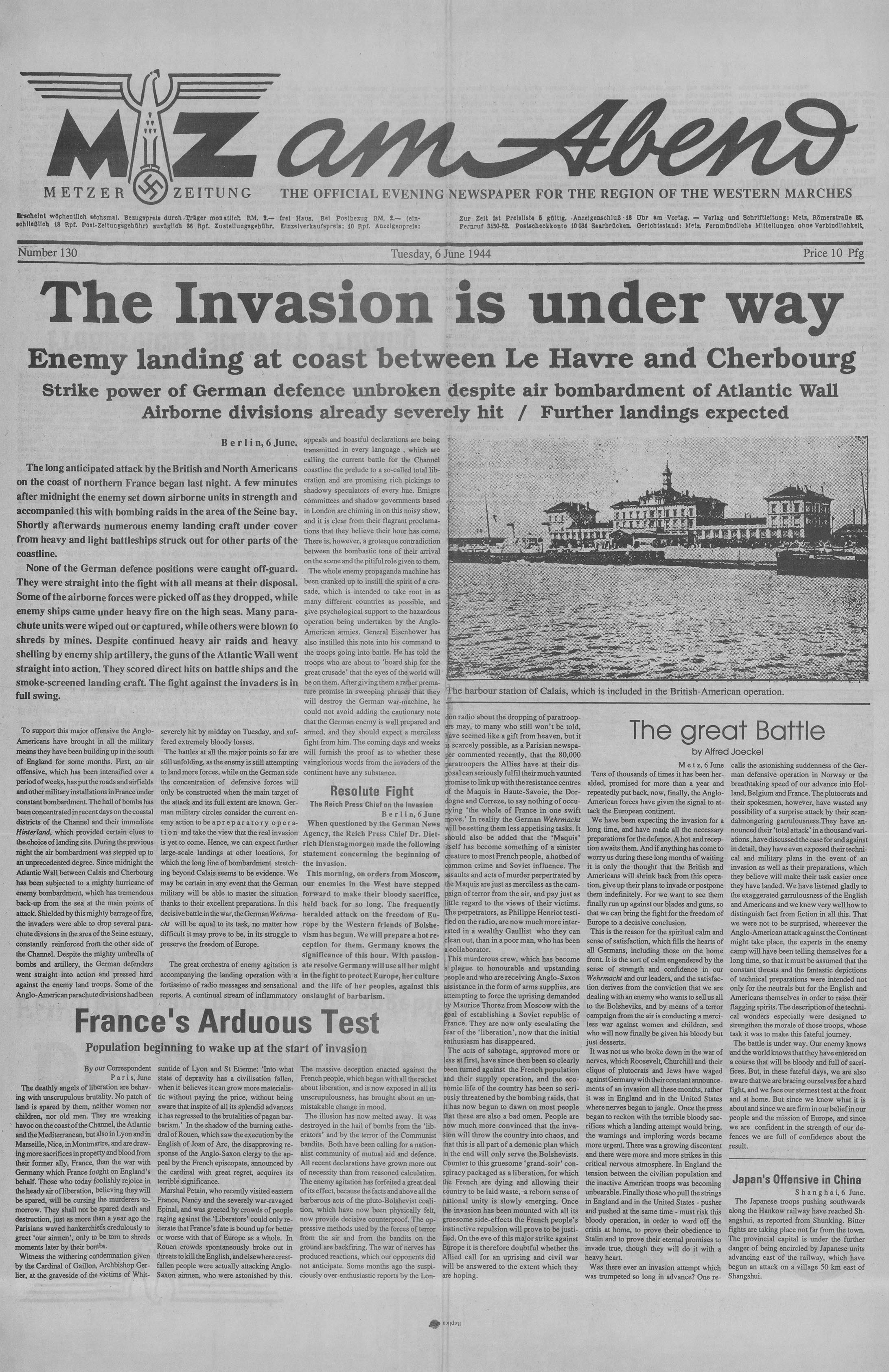 D Day German Metzer Zeitung Newspaper Page 1 in English