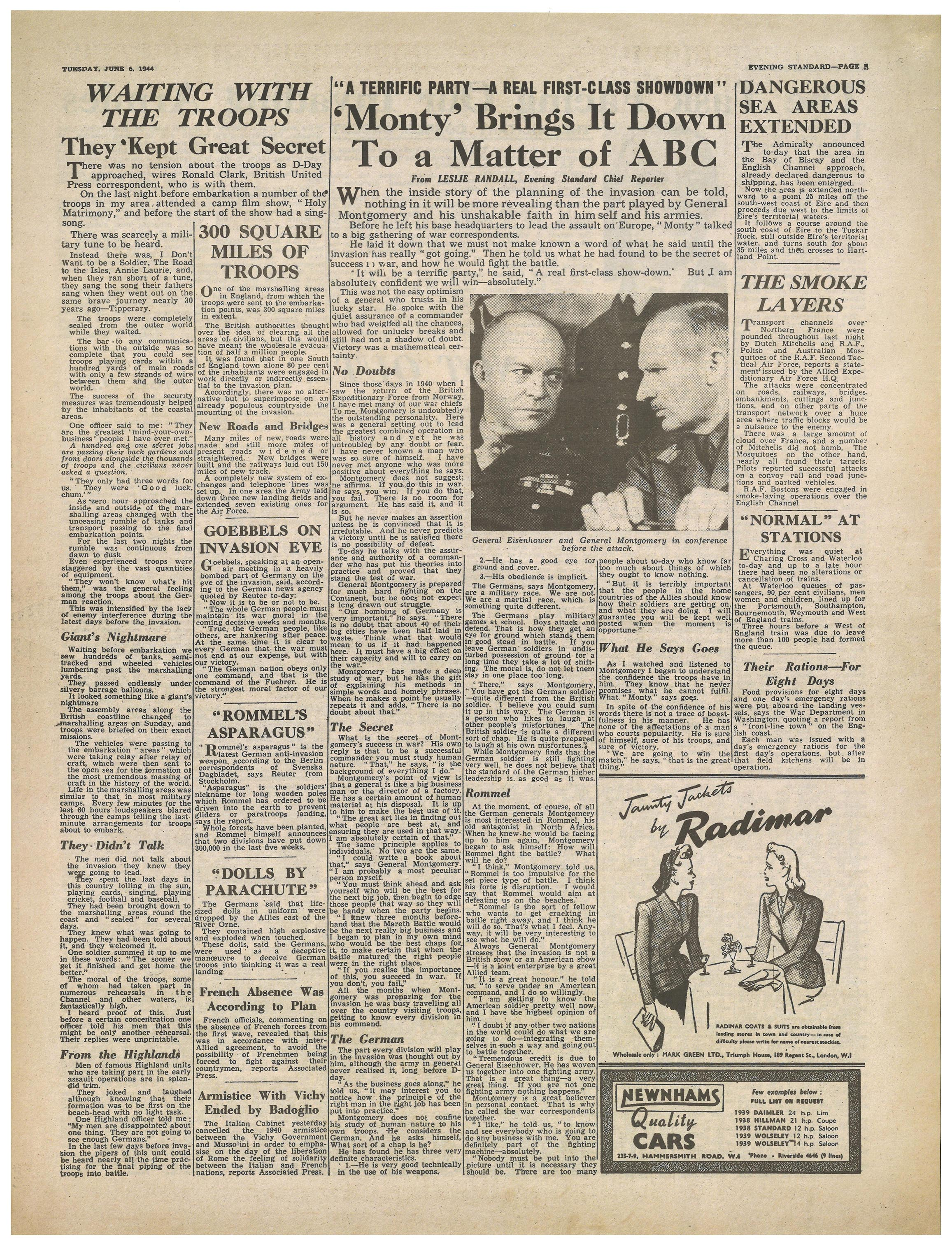 D Day Newspapers Evening Standard June 6th 1944 Page 5