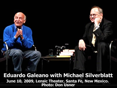 Eduardo Galeano read from his work and joined in conversation with Michael Silverblatt at the Lensic Theater in Santa Fe, New Mexico, Wednesday, June 10, 2009. Photo: Don Usner