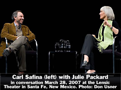 Carl Safina (left) in conversation with Julie Packard at the Lensic Theater in Santa Fe, New Mexico, Wednesday, March 28, 2007. Photo: Don Usner