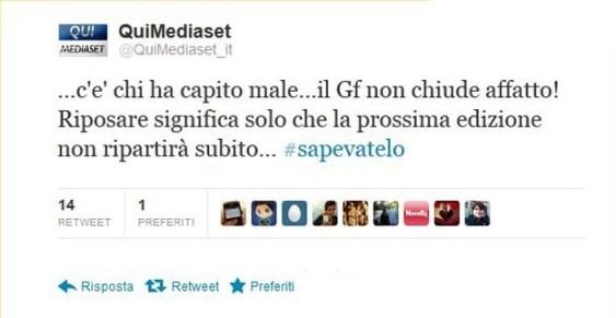 Foto Tweet di Qui Mediaset sul GF
