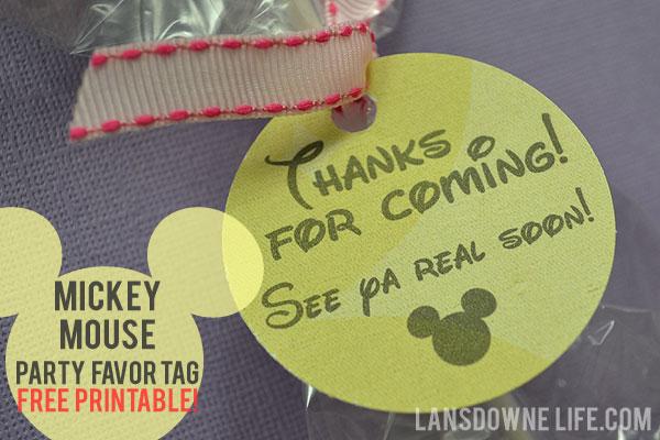 FREE printable Mickey Mouse birthday party favor tags - Lansdowne Life