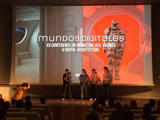 Gonzalo Rueda, David Míguez Blanco y Raúl Carbó en la ceremonia de apertura de Mundos Digitales 2016