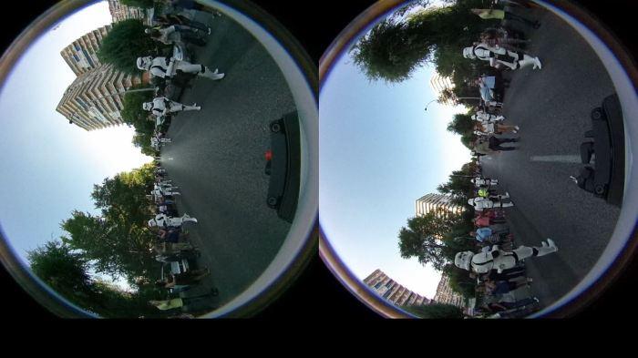 Imagen en bruto de un rodaje en 360º con 2 lentes..