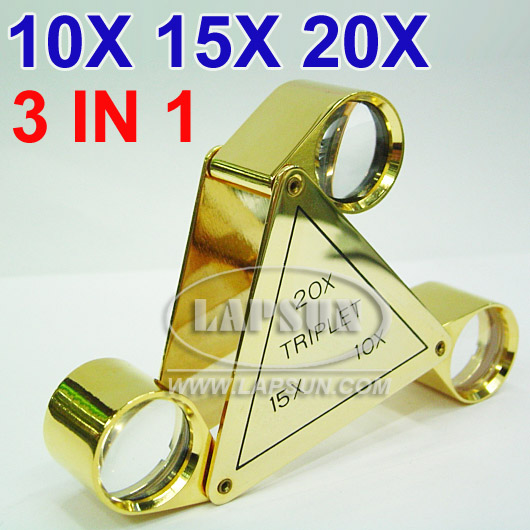 10x 20x 30x Triplet Jewelers Eye Glass Loupe Magnifying LS-led126