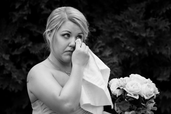 country club wedding ceremony bridesmaid crying