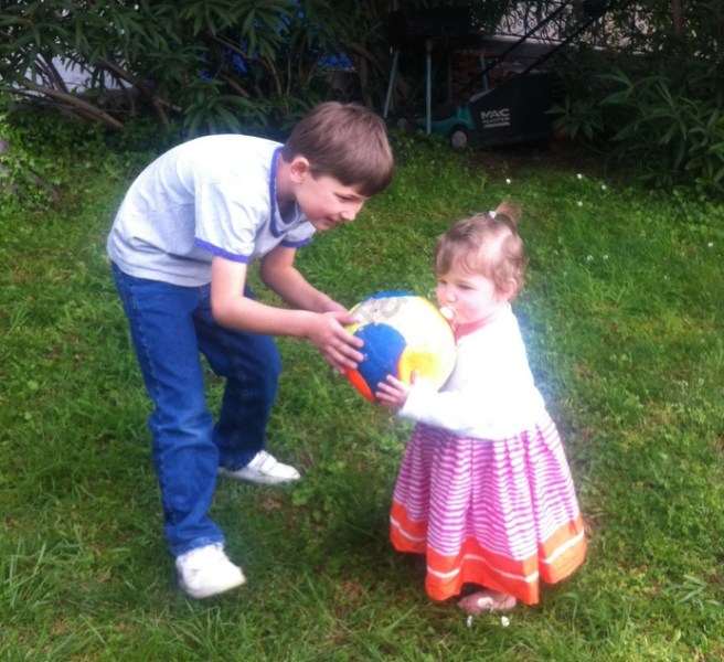 Sid and Anna play catch