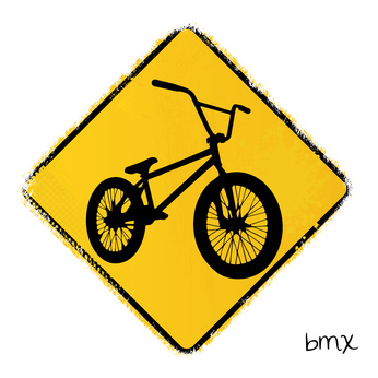 warning road sign with a bmx bike