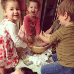 kids making Easter Nests