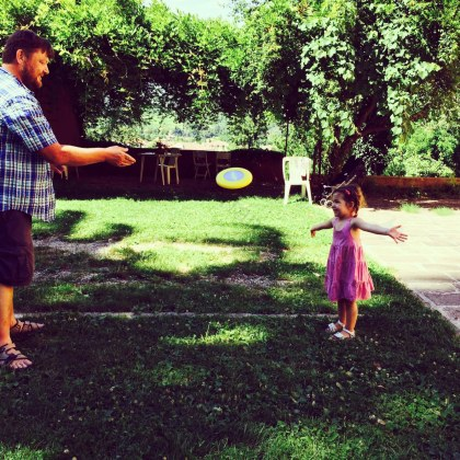 ...to a game of frisbee with Daddy...