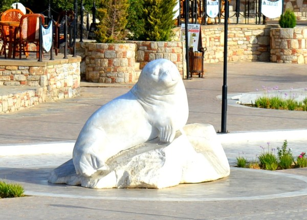 The Badem seal statue at the Datça harbour